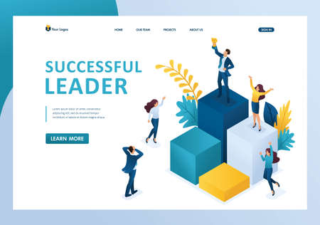 Isometric successful leader on the podium with a prize, the team enjoys success. Template landing page