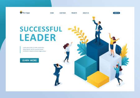 Isometrischer erfolgreicher Führer auf dem Podium mit einem Preis, das Team genießt den Erfolg. Vorlagen-Landingpage