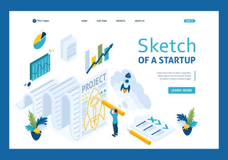 Isometric sketch a startup and paper, design sketch businessman. Template landing page 일러스트