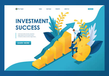Isometric success of investments, businessmen successfully invest money. Template landing page. Standard-Bild - 129789007