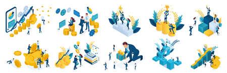 Isometrisch concept van investeren en succes behalen. Vectorillustratie voor website en mobiele applicatie-ontwerp.