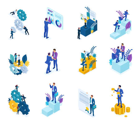 Isometric concept of the mechanism of business operation, Analytics data, to achieve the goal . For website and mobile application design. Ilustração