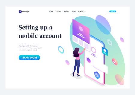 Isometric young girl with mobile phone, filling in the profile of the mobile account. Template landing page.