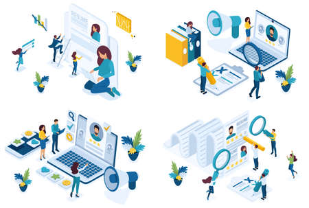 Set isometric concept job search applicant, resume writing, HP Manager, recruiters looking for employees. For create website and applications.