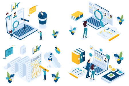 Set isometric concept search for employees HP Manager recruiter to create a joint project. For create website and applications. Ilustracja