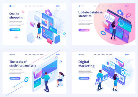 Set isometric landing pages, on the topics of online shopping, statistical analysis, digital marketing. For website and mobile apps development.  イラスト・ベクター素材
