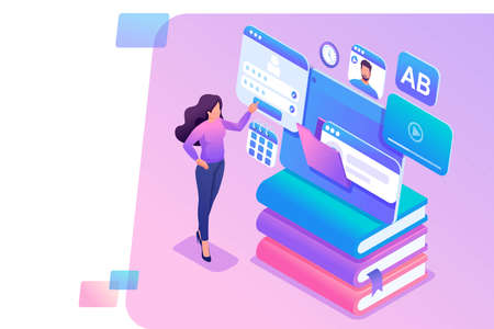Isometric concept young girl uses the tablet for online learning. Concept for web design.