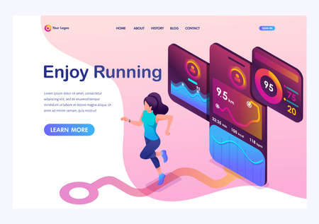 Isometric concept young girl Jogging, running mobile app tracks the workout, the GPS signal. Landing page template for the site. Ilustracja