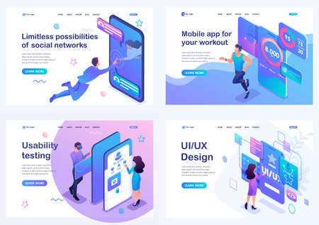 Set isometric landing pages, concept of user interface development, testing and use by users. Mobile application for sports training.  イラスト・ベクター素材