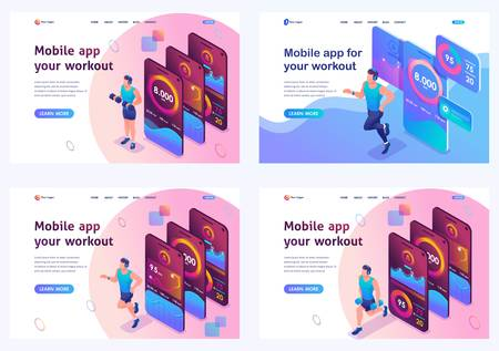 Set isometric landing pages, concepts of using a mobile application to track individual athlete training. Mobile application for sports training.