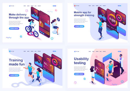 Set isometric landing pages, concept testing and using the mobile app, during sports training, food delivery and on-site orientation. Illustration