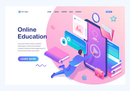 Isometric concept Man studying online, a large library of knowledge. Mobile Application for training. Landing page template for the site.