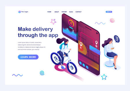 Isometric concept woman Makes a delivery through the app, the girl courier tracks the arrival time and place of delivery. Landing page template for the site.