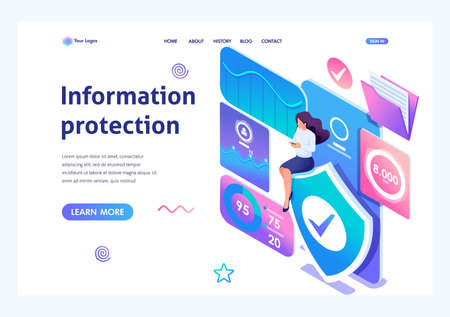 Isometric concept Girl installs online application to protect data on your phone. Information protection. Landing page template for the site. Ilustração