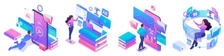 Insieme isometrico di concetti luminosi sul tema dell'apprendimento, i giovani sono formazione online utilizzando tablet e telefoni.