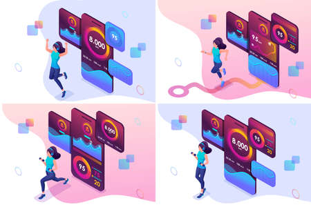 Set isometric girls workout concepts uses a mobile app to track your workouts. For website and mobile website development.