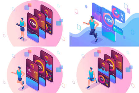 Set isometric concept concepts of using a mobile application to track individual athlete training. For website and mobile website development.