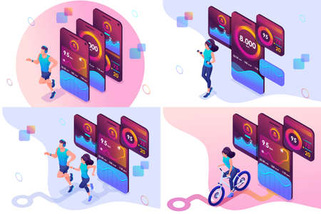 Set isometric workout concepts girls and men uses a mobile app to track your workouts. For website and mobile website development. Ilustração