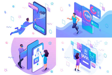 Set isometric concept of user interface development, testing and use by users. For website and mobile website development. Banque d'images - 129788975