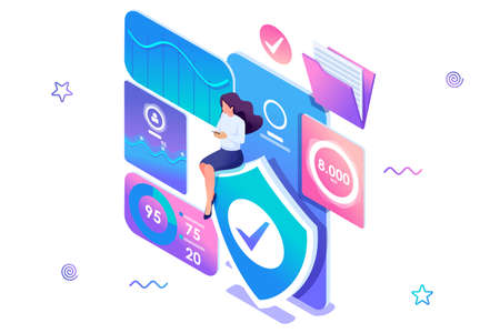 Isometric concept Girl installs online application to protect data on your phone. Information protection. Concept for web design.