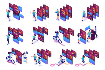 Big Isometric set of bright concepts of use of mobile applications for tracking of trainings. To create an advertising design.