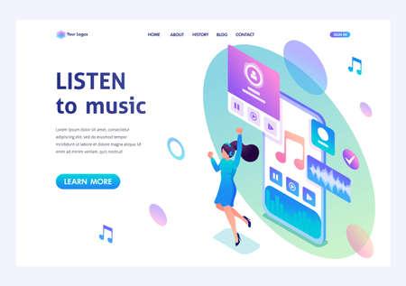 Concept isométrique La fille écoute de la musique sur le smartphone via l'application, danse et se réjouit. Pour les concepts publicitaires et la conception de sites Web.