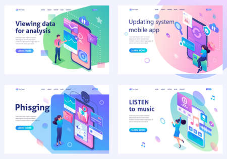 Set isometric landing pages, work with smartphone software, system update, data collection, phishing links, music. For website and mobile apps development. Illustration