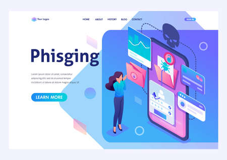 Isometric concept Phishing link, theft of data from the mobile application, credit card data and user passwords, the girl in shock. For advertising concepts and web. Stock fotó - 129788923