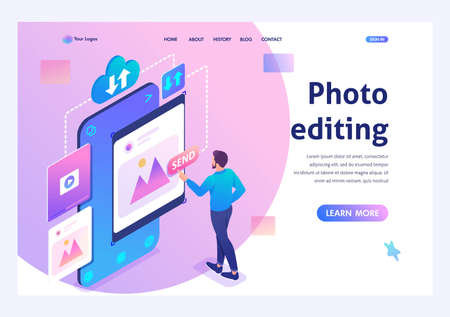 Young man is editing his photos on a smartphone. The concept of content for social networks. 3d isometric. Landing page concepts and web design.