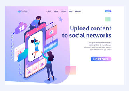 Young girls make a post on the social network. Uploading content to social networks concept. 3d isometric. Landing page concepts and web design. Stock Illustratie