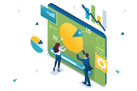 Young entrepreneurs are working with a chart on a tablet. Concept of data Analytics. 3d isometric Concept for web design. Vettoriali