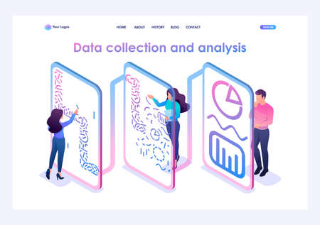 Team of professionals processes data and generates reports for analysis. Data analysis concept. 3d isometric. Landing page concepts and web design.