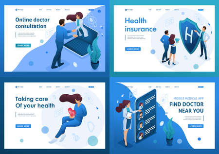 Set of isometric concepts.work of doctors for the preservation and promotion of health. For Landing page concepts and web design. Çizim