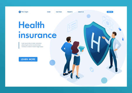 Young doctor offers health insurance to the couple. Concept of health insurance. 3d isometric. Landing page concepts and web design.