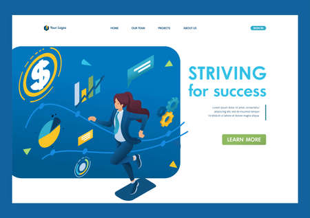 Business lady is committed to success, runs on a planned schedule. The concept of achieving the goal. 3d isometric. Landing page concepts and web design.