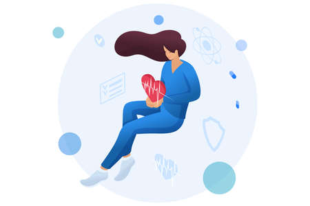 Doctor woman holding a beating heart personifying the care of about the health of the patient. Health care concept. 3d isometric Concept for web design. Çizim
