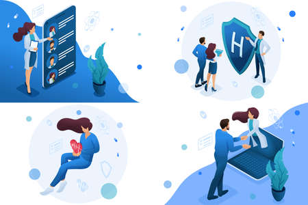Set of isometric concepts work of doctors for the preservation and promotion of health. For Concept for web design. Çizim