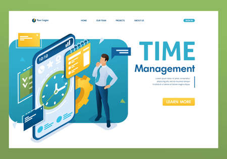Businessman engaged in time management using the application on the smartphone. Time management concept. 3d isometric. Landing page concepts and web design.