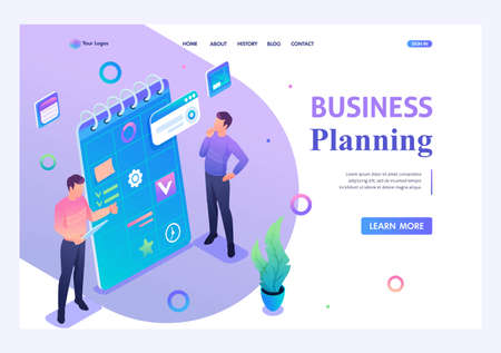Young people are engaged in drawing up a business plan. Concept of modern technology. 3d isometric. Landing page concepts and web design. Ilustração