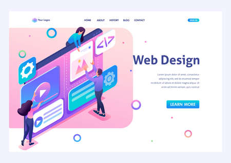 Team of specialists is working on the creation of web design. Concept of teamwork. 3d isometric. Landing page concepts and web design. Archivio Fotografico - 131542430