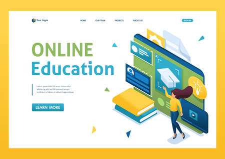 Young people are engaged in online training using a tablet. Concept of online education. 3d isometric. Landing page concepts and web design.