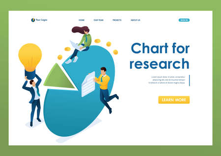 Young entrepreneurs work with charts and profit diagrams. Concept of teamwork. 3d isometric. Landing page concepts and web design.  イラスト・ベクター素材