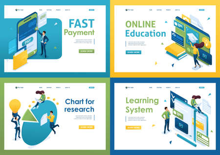Set of isometric concepts Fast payment, online education, learning system, chart for research. For Landing page concepts and web design.