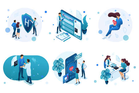 Set of isometric concepts for advertising and creating landing pages on the theme of medicine. Doctor advises the patient, medical worker during the work.