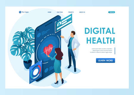 Doctor shows the patient how to use the application to maintain health. Health care concept. 3d isometric. Landing page concepts and web design-01.