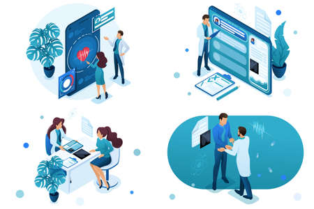 Set of isometric concepts digital health, electronic card, consultation patient. For Concept for web design-01.
