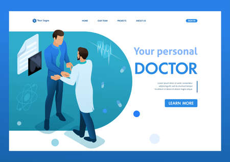 Doctor communicates with the patient. Health care concept. 3d isometric. Landing page concepts and web design-01. Иллюстрация