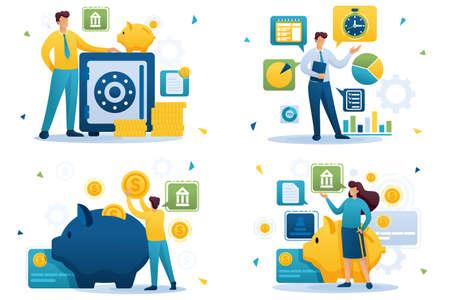 Set Flat 2D concepts saving money, bank deposits, investment plan, time management. For Concept for web design. Ilustração