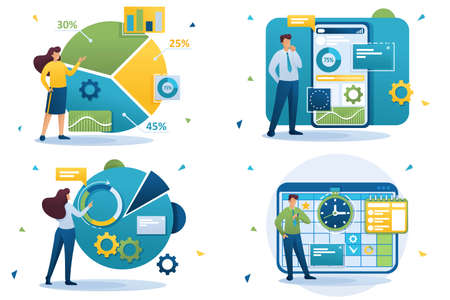 Set Flat 2D concepts financial analysis, data collection application, business planning, graphs and charts. For Concept for web design.