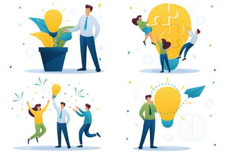 Set Flat 2D concepts to create new ideas, business startup. Brainstorm business ideas. For Concept for web design. Archivio Fotografico - 131545570